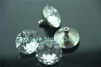 Cheap 10pcs 30mm New Clear Crystal Glass Furniture knob Pull Handle Cupboard Wardrobe Drawer Cabinet Knob