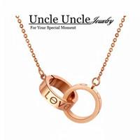 Pendant Necklaces allergy titanium - Brand Design K Rose Gold Plated Titanium Steel Circles Design Love Interlaced Lady Pendant Necklace Allergy Free