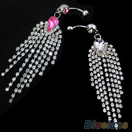 Wholesale Dangle Crystal Navel Belly Button Bar Barbell Rings Rhinestone Body Piercing New EI