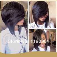 Wholesale Custom made brazilian short human hair wigs glueless full lace wig lace front wigs bob wig baby hair bleached knots