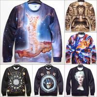 Cheap Cool! 2014 New Men Women Novelty Pullover Hoodies 3D Print Galaxy Cat Buddha Figure