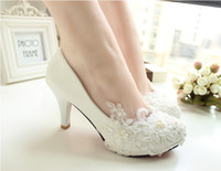 Wholesale Handmade lace white high heeled shoes bride marriage banquet dress shoes