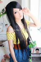 Cheap Dance party Non-mainstream round face bangs and long straight hair Wig Heat Resistant Synthetic Fiber full lace wigs for women's
