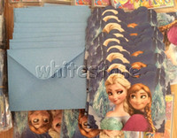 Wholesale Christmas Frozen Party Decoration Elsa Anna Birthday Party Supplies Invitation Greeting Card Congratulation Cards with Envelope Free DHL