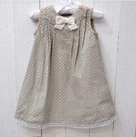Wholesale French style EPK baby girl s spring elegant grey polka dot bow corduroy lace dress tank