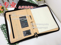 Wholesale A4 zipper leather file breifcase folder quality book bag multifunctional notebook clip with calculator