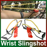Wholesale New catapult velocity Foldable Wrist Support Sling Shot Slingshot Catapult Outdoor Hunting Fishing Red barnett cobra sling shot