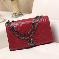 handbag - Handbag Reissue Black Lambskin Quilted Bag pu Leather Chain Strap