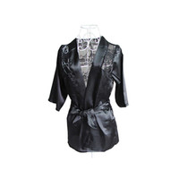 Wholesale S5Q Women s Sexy Lingerie Satin Lace Kimono Intimate Sleepwear Robe Night Gown AAADCB