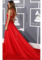 Wholesale Grammy Awards Vogue Evening Dresses A Line High Neck Pleated Criss Cross Back Chapel Trailing Cheap