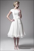 best white tea - Best Selling Short Beach Wedding Dresses Tea Length Cap Sleeve Jewel Neck Ribbon Sash Ivory Chiffon Bridal Gowns Custom Made W296