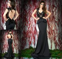 Cheap Reference Images Black Evening Dresses Best V-Neck Satin Lace Evening Dresses