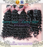 Cheap 7a Unprocessed brazilian virgin deep wave curly queen human hair with lace closure 4x4 bleached knots with bundles 4pcs lot 02