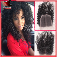Cheap Brazilian Hair kinky curly closure Best Natural Color Curly top closure