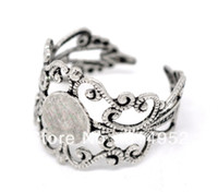 Band Rings Unisex Party Wholesale 30 Silver Tone Adjustable Filigree Cabochon Copper Ring Base Blank Settings US8