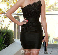 2014 Prom Dress Strapless Little Black Satin Cocktail Dresse...