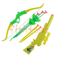 Wholesale Bow arrow set and Soft bullet gun Classic toys Outdoor shooting toys Plastic toys