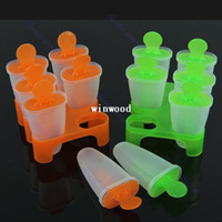 Ice Cream Makers Plastic ECO Friendly 6 Cell Frozen Ice Cream Pop Mold Popsicle Maker Lolly Mould Tray Pan Kitchen DIY