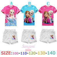 Wholesale Smart Frozen Cartoon Childrens Outfits for Girls Precious Cotton Blends Kids Clothing Short Sleeve and Round Neckline Design Hot Sale B3