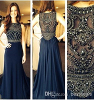 Wholesale Real Image Crystal A Line Chiffon Prom Dresses New Sleeveless Jewel Neck Dark Blue Long Formal Evening Gowns Robe De Soiree