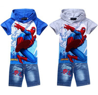 Boy baby clothes wholesale - Baby Clothes Summer Tracksuits New Spiderman Children Hoodies Shorts Boy Casual Suit Boy Clothing Set Sport Suit