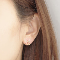 anchor studs - 10pcs Fashion jewelry new Fashion K Gold Silver cute Tiny Anchor Stud Earrings ED026