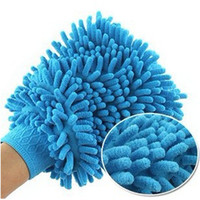 Wholesale car cleaning glove Cache gloves sided coral chenille wash mitt wash cloth brush tool Aftermarket car wash gloves