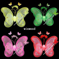 Wholesale 2014 Top Fashion Frozen Decoration Hallowen Butterfly Fairy Wings Magic Wand for Children Colors Mixorder Children s Day Gigt