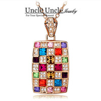 Women's amazing queen - Amazing K Rose Gold Plated Italy Design Multicolor Austrian Crystal Luxury Queen Lady Necklace Colors