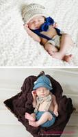 Cheap Wholesale-Free Shipping Fashion 3Pcs Baby Boys Girls Newborn Infant Kids Hat+Bow Tie+Pants Crochet Knit Outfit Set Suit Photo Props 0-8 M