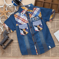 Wholesale 2014 new baby boy child children denim jacket plaid cowboy shirt baby coat to fight the two of five yards
