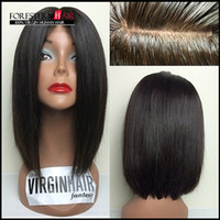 Wholesale Full Lace Human Hair Wigs Brazilian Lace Front Wigs For Black Women Natural Black Short Bob Wigs With Baby Hair Density