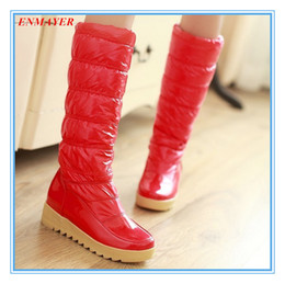 Wholesale ENMAYER Fashion Warm Winter Shoes Half Knee High Snow Boots for Women Round Toe Platform Skid proof Sole Motorcycle boots