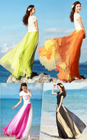 Cheap New Design 2014 Spring&Summer Ladies's Vintage Style Soft Chiffon Contrast Elastic Waist Maxi Full Boho Dress SV001221