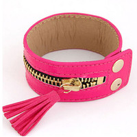 Wholesale Zipper wide leather bracelet girls jewelry