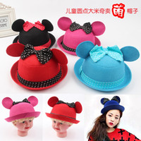 Cheap Children's hatWholesale Korean children hat bucket hats Children ear hats dot big bow hat hats to sell Mengwinter hat cartoon
