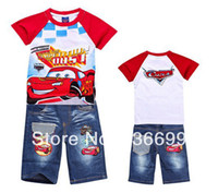 Wholesale s118 children boys clothing set cartoon car shirt pant clothes kids apparel pajama for summer baby clothes