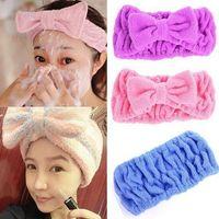 Wholesale Hot Selling Korean Cute Bowknot Fibre Hair Wrap Shower Wash Face Bath Spa Make up Headband Hairband New Fashion FG01001