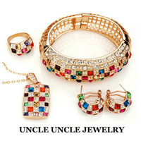 amazing elements - Amazing Luxury K Rose Gold Plated Sparkly Multicolor Austrian Crystal Queen Element Wedding Jewelry Set