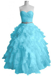 Wholesale Light Sky Blue Hunter Quinceanera Dresses Ball Gown Sweetheart Sweep Train Beaded Crystal Sequins Ruffle Tiers Organza Prom Dresses RX257
