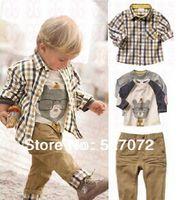 Cheap Wholesale-Free Shipping! new spring brand baby clothes set cool boy 3 pcs suits t-shirt+shirt+pants children designer garment Retail