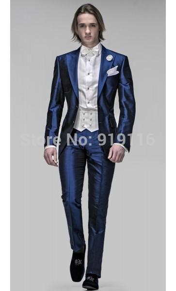 2016 Custom Made Italian Satin Blue Peak Lapel Tuxedo/Wedding ...