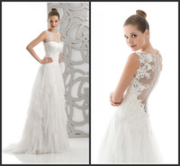 Wholesale Newest sexy wedding dresses jewel capped A line backless covered button sweep train Applique cascading ruffles lace crepe dresses T