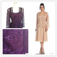 best knee sleeves - Best Selling Tea Length Mother of the Bride with Jacket Long Sleeve Lace Chiffon Short Column Formal Dresses Custom M14