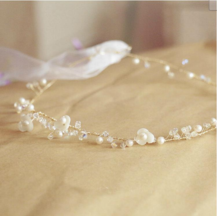 Real Flower Bridal Hair Accessories : Real pearl bridal tiaras hair accessories shell