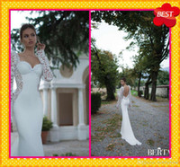 Cheap Winter Berta Bridal Wedding Dresses Fitted Fish Style 2014 Sexy Square Neckline Long Sleeves See Through Lace Applique Formal Wedding Gowns