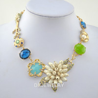 Classical cornucopia - JC Mint Blue Gem Czech Crystal Cornucopia Beautiful Coral Necklace HX130021
