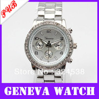 Cheap New Classic geneva quartz wrist watches women luxury designer brand discount wholesale watches free Shipping alloy metal band