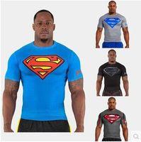 Wholesale new compressed t shirt hot superman batman t shirt men sports quick dry fitness clothing Captain America top sale