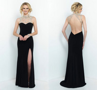 Cheap 2015 Sophisticated Black Sheath Greek Goddess Wedding Evening Dresses Illusion Crystals Beaded High Neck Backless High Side Slit Party Gowns